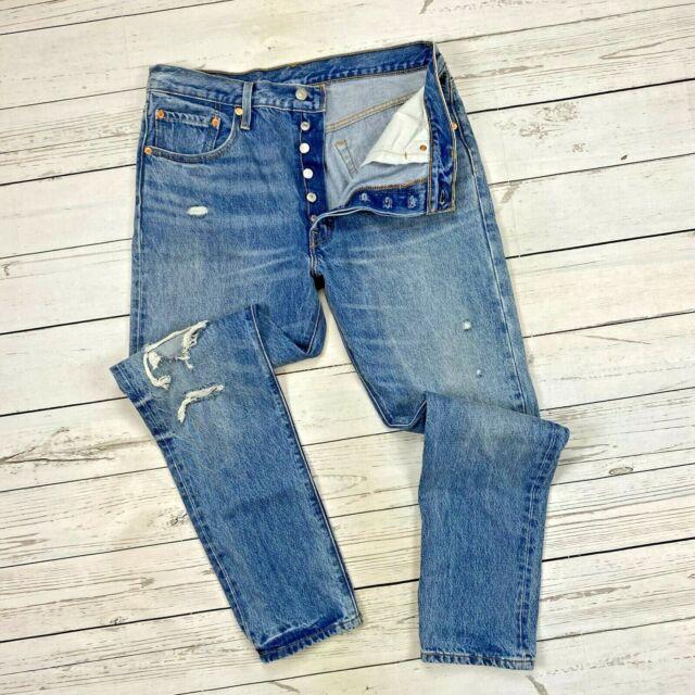 Levis 501 Skinny Jeans Größe 32 Damen Knopfleiste Used-Denim 295020008