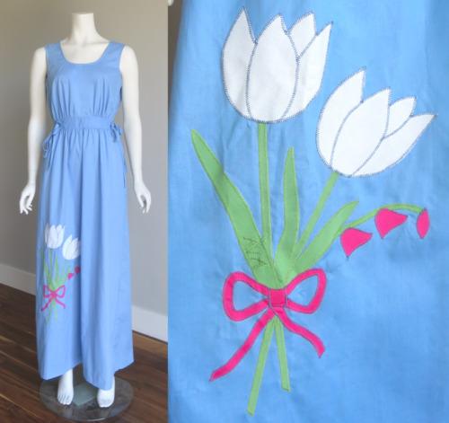 Vtg 70s Swirl WRAP DRESS w/ TULIP Applique Hippie