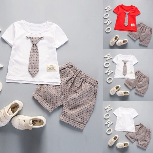 Child Kids Baby Boy Outfits Short Sleeve T-shirt+Pants Gentleman Clothes Set//2pc