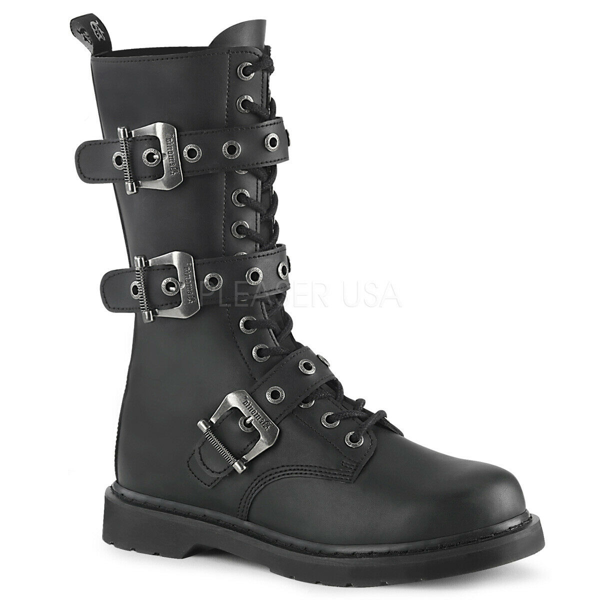 DEMONIA Women's Goth Military Biker Combat Buckles Vegan Black Mid Calf Boots