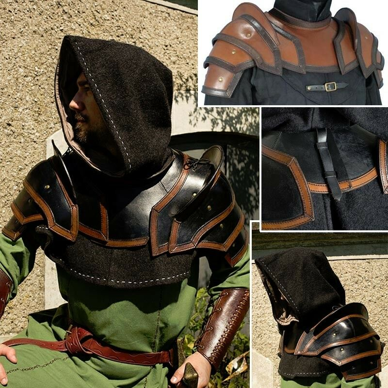 Quality Leather Shoulder and Neck Guard.Perfekt för scener, Costume and LARP.
