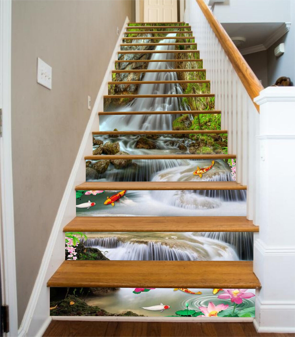 3D Streams, fish 34 Stair Risers Decoration Photo Mural Vinyl Decal Wallpaper US