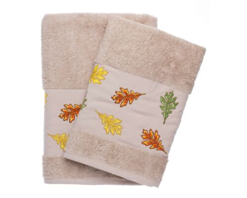 Oak Leaves Auntumn Leaves Embroidered Bath And Hand Towel Turkish Cotton By Ebru