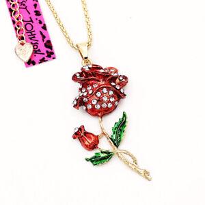 Betsey-Johnson-Red-Enamel-Crystal-Rose-Flower-Pendant-Women-039-s-Necklace-Gift
