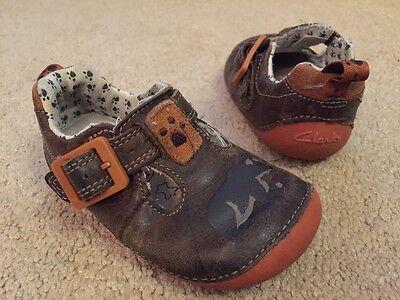 Zapatos De Cuero Boy'S Clarks Marrón Naranja primero caminar Reino Unido Infantil Tamaño 3 F