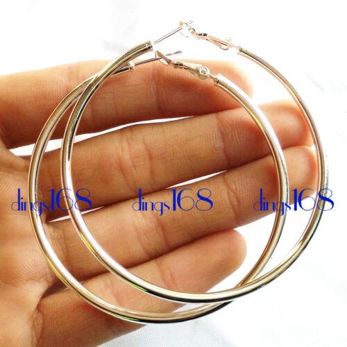 Argent Sterling 925 Hypo-allergénique Medium//Large Taille tubulaire Boucles d/'oreilles Créoles H578