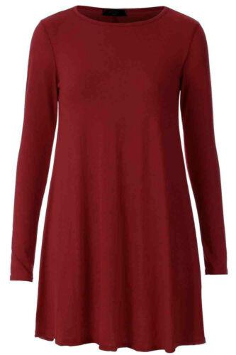 Womens Plain Jersey Tartan Print Long Sleeve Ladies Party Swing Skater Dress8-24