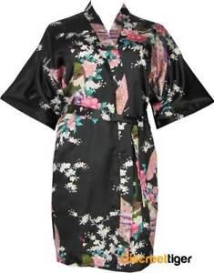 High Quality Black Satin Robe Asian Inspired Small   Plus Size Silk ... 738de85c6
