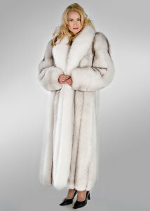 competitive price to buy shop for genuine Details about Genuine Natural Blue Fox Fur Coat with Natural White Fox  Collar Length 52