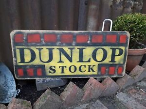 DUNLOP STOCK SIGN TYRES  PETROL FORCOURT SHELL OIL MANCAVE GARAGE MICHELIN MAN