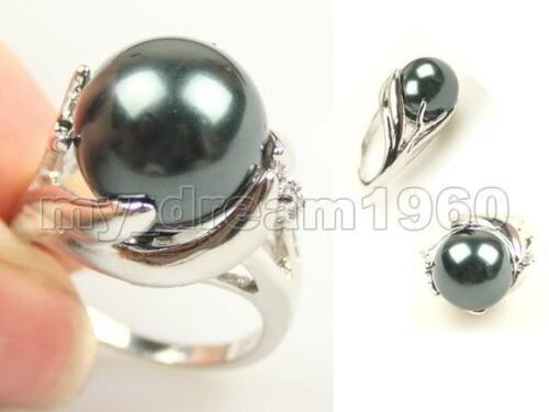 Beautiful Genuine Huge 14mm South Sea Black Shell pearl Ring US Size #9