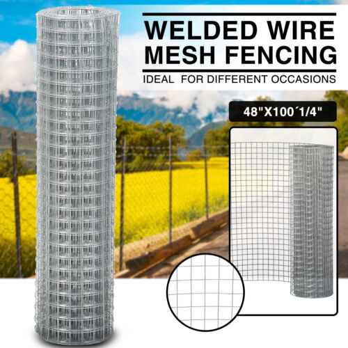 """48/""""×100/' 1//4/"""" Galvanized Welded Wire Mesh Chicken Silver Fence Pigeon"""