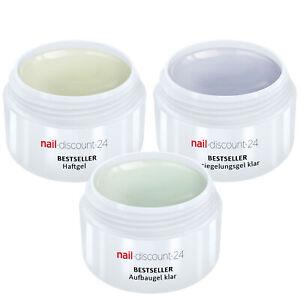 UV-Gel Spar Pack Set 3 x 30ml HaftGel + AufbauGel klar + finish VersieglerGel