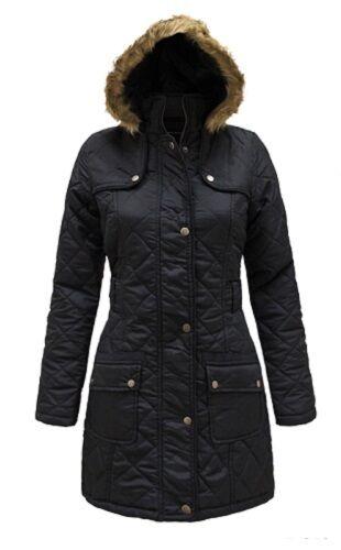 e01c928ff92d NEW Girls Quilted Fur Hood Parka Jacket Coat School Black Age 7 8 9 ...