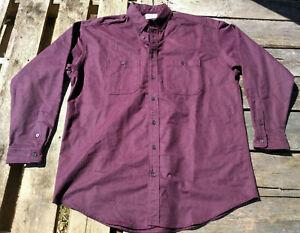 Vtg-LL-BEAN-Men-Maroon-CHAMOIS-Cloth-FLANNEL-Hunting-Camping-Work-Shirt-XL-TALL