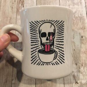 Stumptown Coffee Skate Team Skull Pink White Heavy Diner Mug Artist Collab 10oz