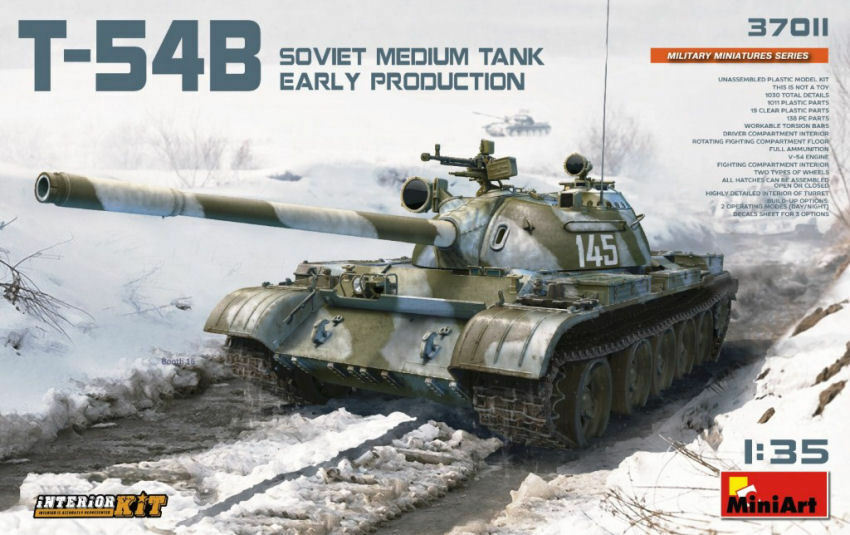T-54b Soviet Medium Tank Early Production W  Interior Plastic Kit 1 35 Model