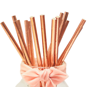 Drinking Straws Glittering Metallic Rose Gold Party Decorations Paper Straws