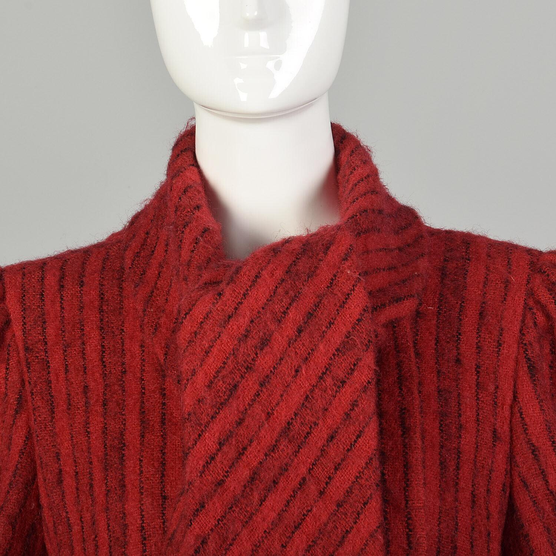 Medium 1980s Pauline Trigere Coat Red Black Strip… - image 9