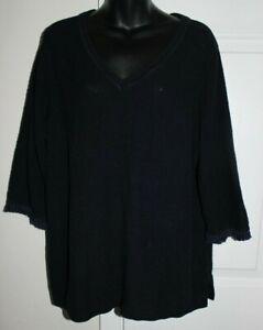 Talbots-Woman-2x-Navy-Blue-V-Neck-3-4-Sleeve-Fringe-Trim-Sweater-Pull-Over