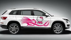 HELLO KITTY TRIBAL CUTE GIRL SWIRLS DECAL GRAPHIC VINYL SIDE CAR