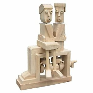 NEW KISSING COUPLE SELF ASSEMBLY WOODEN MOVING CONSTRUCTION TIMBERKITS DIY GIFT