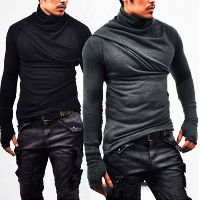2018 Fashion Men's Slim Fit Irregular Long Sleeve Muscle Tee T-shirt Tops Blouse