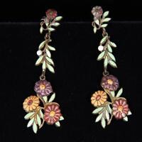 Antique Floral Enamel Dangle Earrings Lot 41