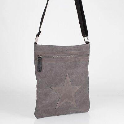 Vintage Cross Bag Hand Schulter Tasche Leder Jeans Stoff Shopper Stern Grau Top