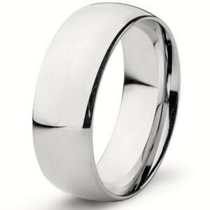 925 Sterling Silver Plain 8mm Wide Wedding Band Ring Men S Size 8 13 Ebay