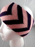 Headband Ear Warmer Band Knit Pink Purple 4 Inch Wide Chevron Acrylic Rikka