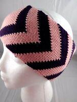 Headband Ear Warmer Band Knit Pink Purple 4 Inch Wide Chevron Acrylic Rikka