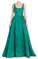 $895 NWT ML Monique Lhuillier Green Emerald Lace Pockets Ball Gown Dress 10