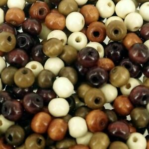 Mixed-Brown-Wood-7-x-8mm-Plain-Round-Beads-Craft-Wooden-Bead-100-Pack-W808