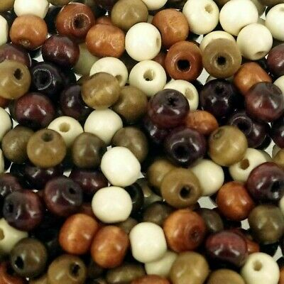 W808 Mixed Brown Wood 7 x 8mm Plain Round Beads Craft Wooden Bead 100 Pack