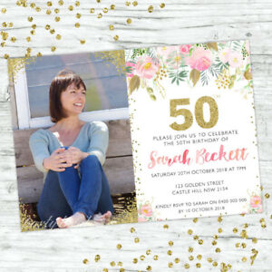50TH-BIRTHDAY-INVITATIONS-PARTY-SUPPLIES-GOLD-PERSONALISED-INVITE-FLORAL-PINK