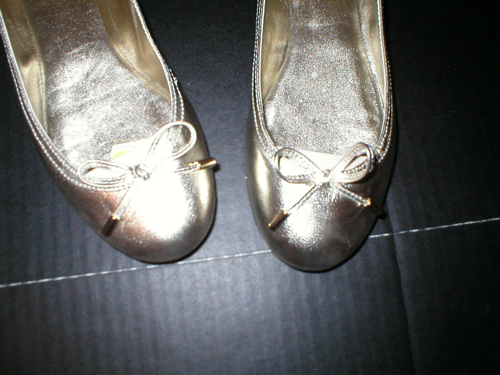 New Donna Lauren Ralph Lauren Metallic Gold Flats 6 Bow Scarpe Pelle Designer