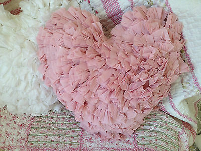Pink Ruffle Shabby Chic Heart Shaped Filled Cushion