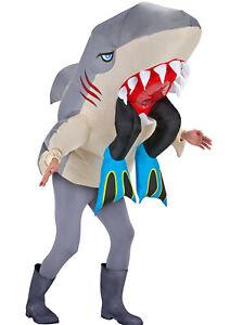Adult Inflatable Halloween Man Eating Shark Fancy Dress Costume Shark Costume