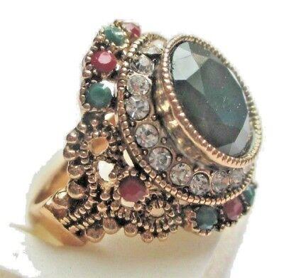 Il Prezzo Più Economico Superbe Bague Couleur Or Cristaux Diamant Rubis émeraude Bijou Vintage T 58