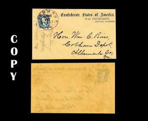 USA 1863 Cover, Jefferson Davis Csa, 10c Confederacy War Dept $125000 ,Copy