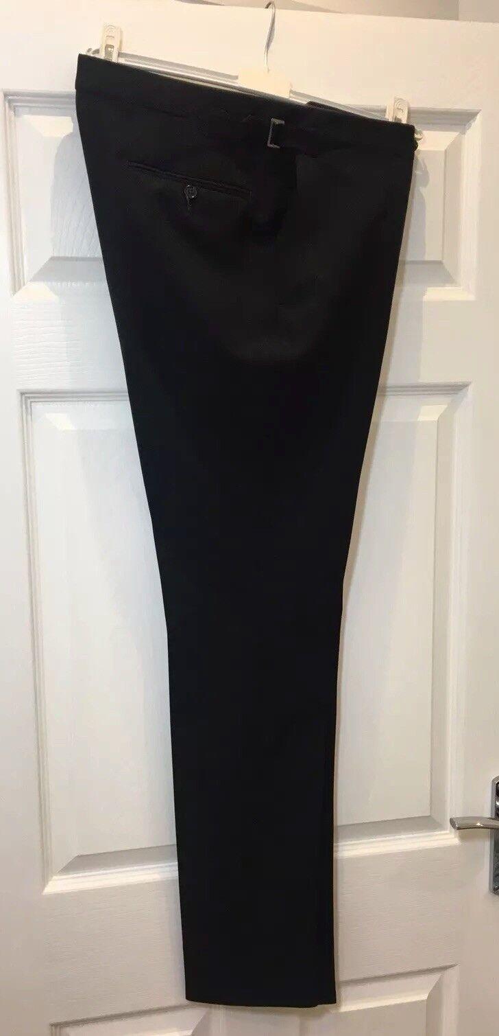 ERMENEGILDO ZEGNA Negro Negro De Lana Negro Negro Plano fachada Inteligente Delgado Pantalones cónicos 34 fabb1a