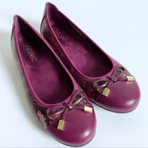 Vionic Minna Purple Snakeskin Ballet Flats 6
