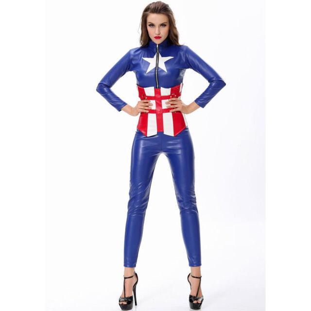 Ladies Captain America Costume Fancy Dress Superhero Avengers Cosplay UK 8/10