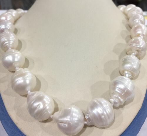 "Rare énorme Blanc 15x20MM South Sea Baroque Keshi Akoya Collier De Perles 18/"" AAA"