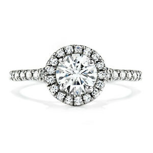 1.50 Ct Solitaire Moissanite Engagement Ring 18K Solid White Gold ring Size 9.5