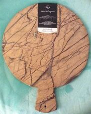 "Nanette Lepore Marble Cutting Board Cheese Made India 12"" Round Brown Veins"