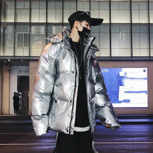 Men/'s Thicken Jacket Loose Fit Hooded Shiny Bling Coat Winter Warm Bubble Puffer