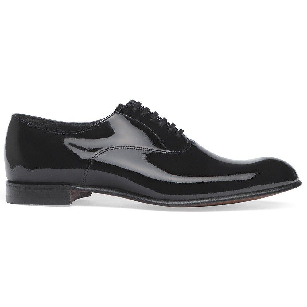 Hecho a mano para hombres Genuino Charol Negro Zapatos Oxford punta del ala acordonados formal
