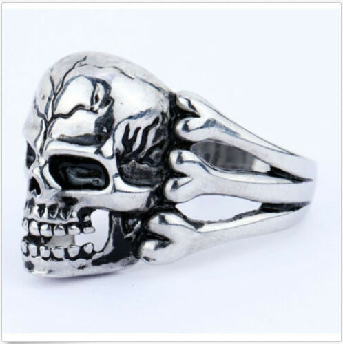 316 Stainless Steel Skull and Bones Ring.Heavy Thumb Ring Mens